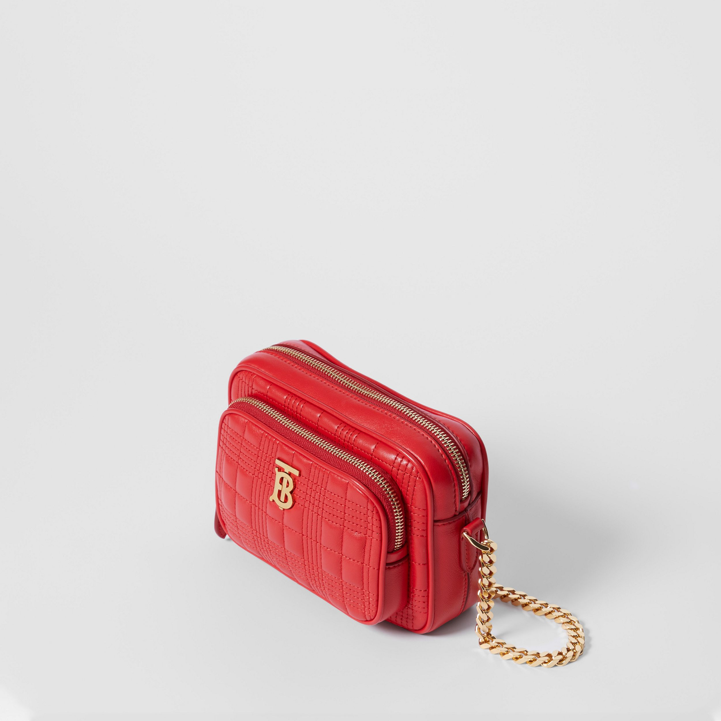 Small Quilted Lambskin Camera Bag in Bright Red | Burberry - 3