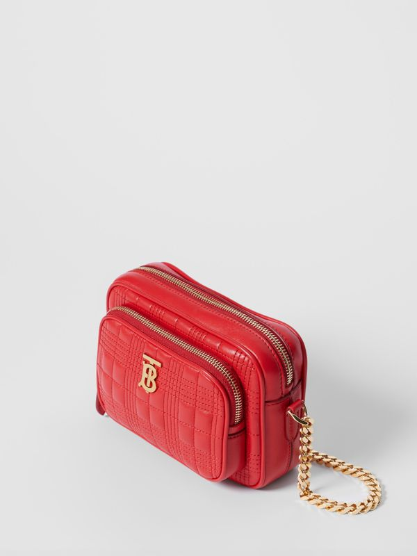Small Quilted Lambskin Camera Bag in Bright Red | Burberry - cell image 2
