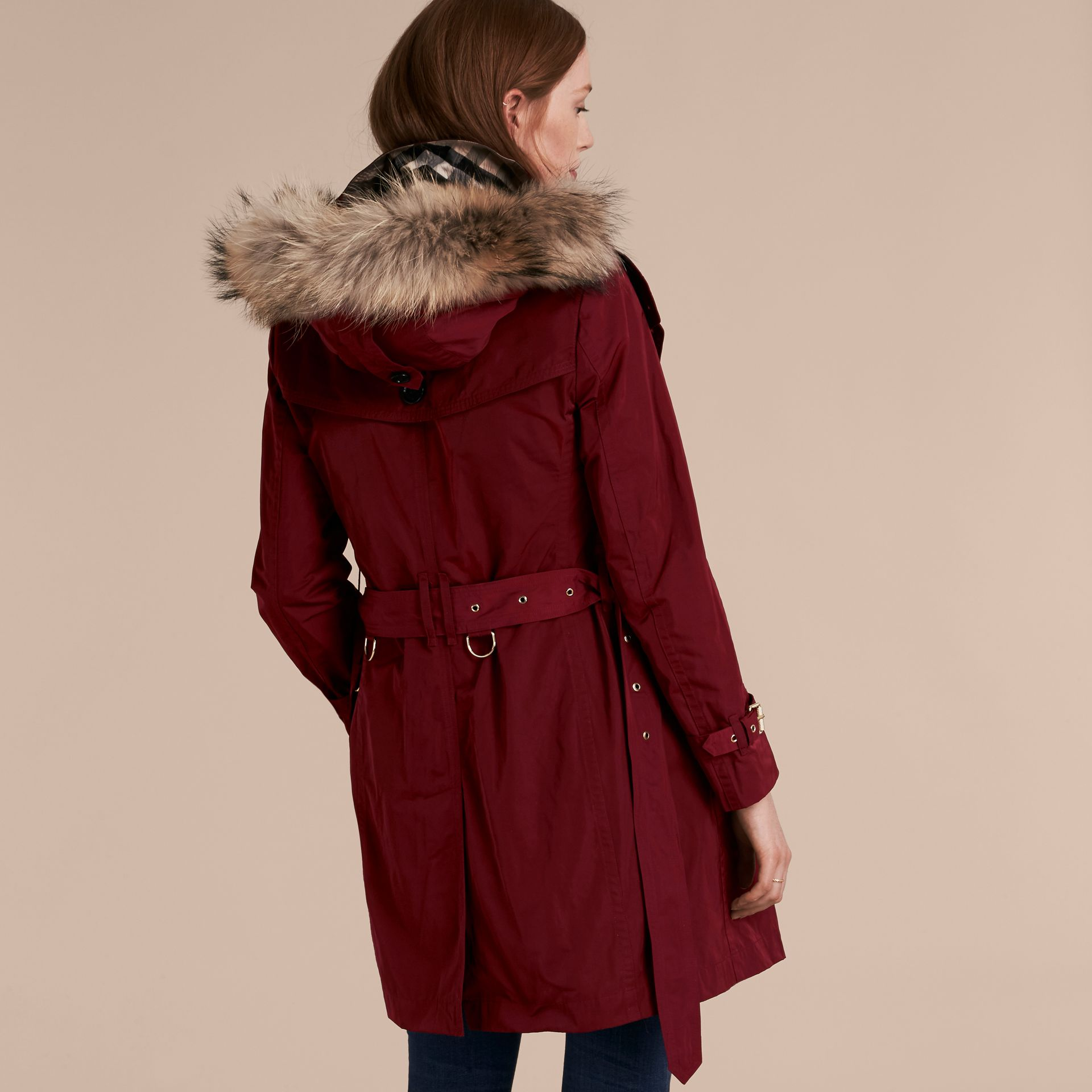 Garnet Fur-trimmed Hood Trench Coat with Detachable Gilet Garnet - gallery image 3