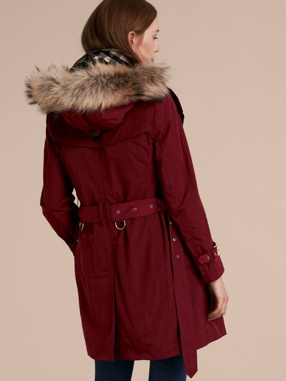 Garnet Fur-trimmed Hood Trench Coat with Detachable Gilet Garnet - cell image 2