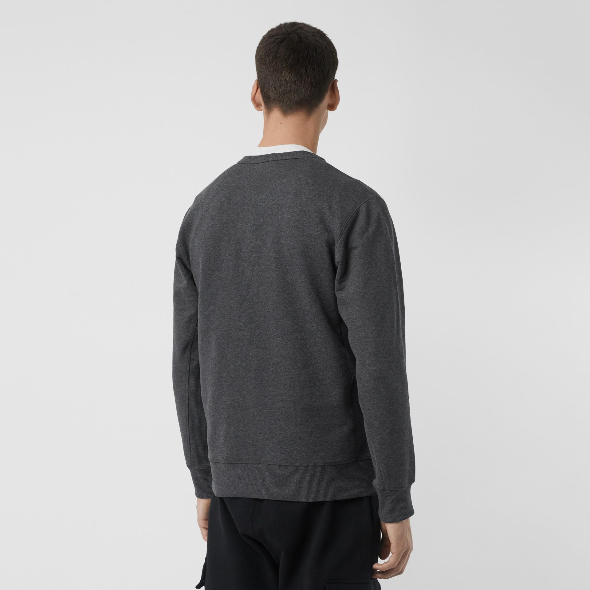 Embroidered Crest Cotton Sweatshirt in Mid Grey Melange - Men | Burberry United Kingdom - gallery image 2