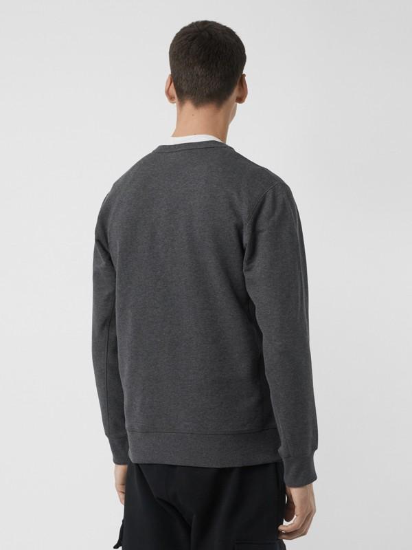 Embroidered Crest Cotton Sweatshirt in Mid Grey Melange - Men | Burberry United Kingdom - cell image 2
