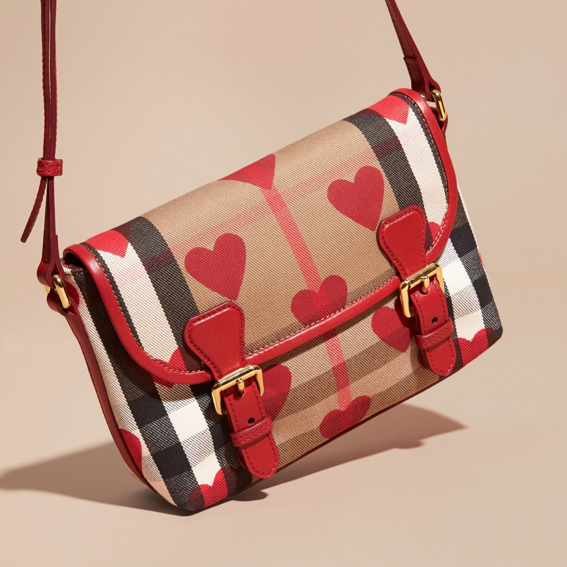 Parade red Hearts and House Check Satchel - gallery image 3