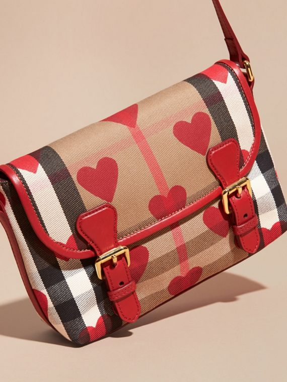 Parade red Hearts and House Check Satchel - cell image 2