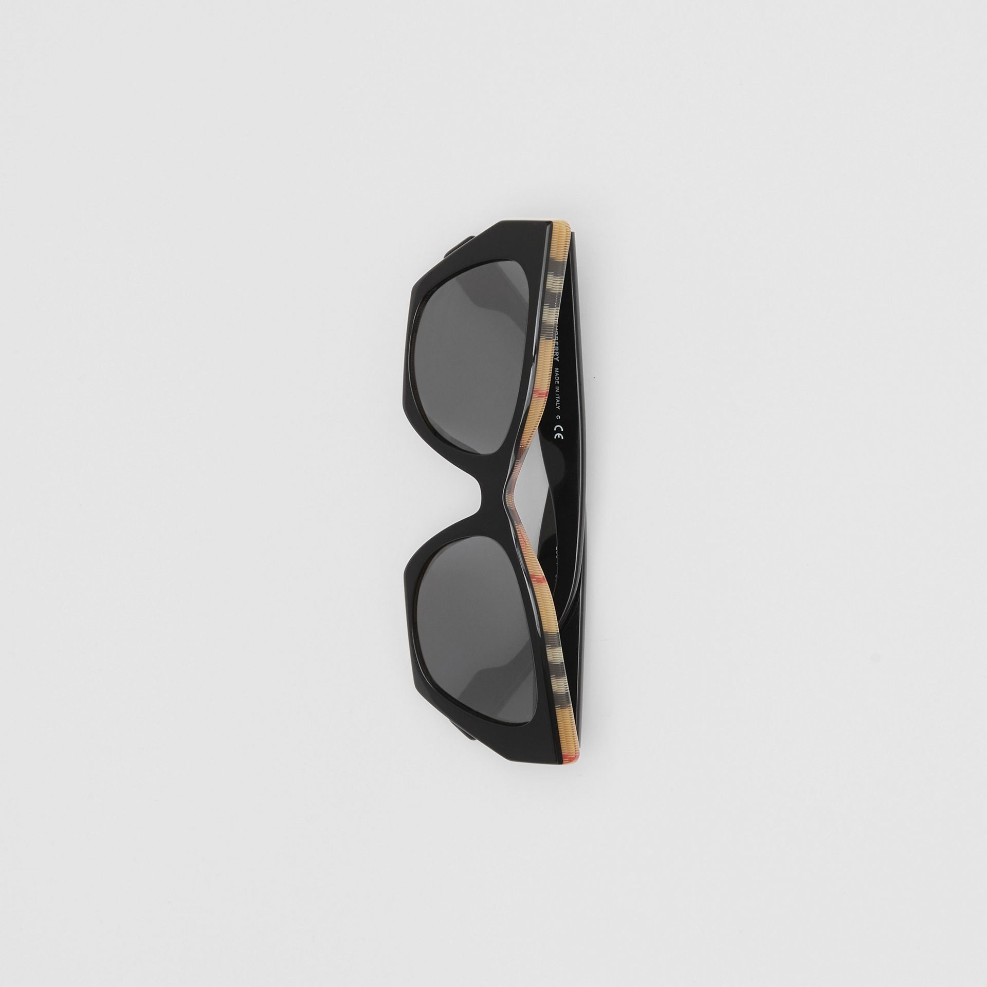Vintage Check Detail Butterfly Frame Sunglasses in Black/archive Beige - Women | Burberry United Kingdom - gallery image 3