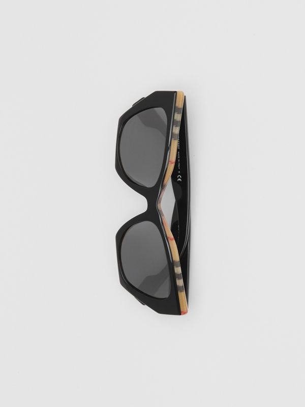 Vintage Check Detail Butterfly Frame Sunglasses in Black/archive Beige - Women | Burberry Hong Kong S.A.R - cell image 3