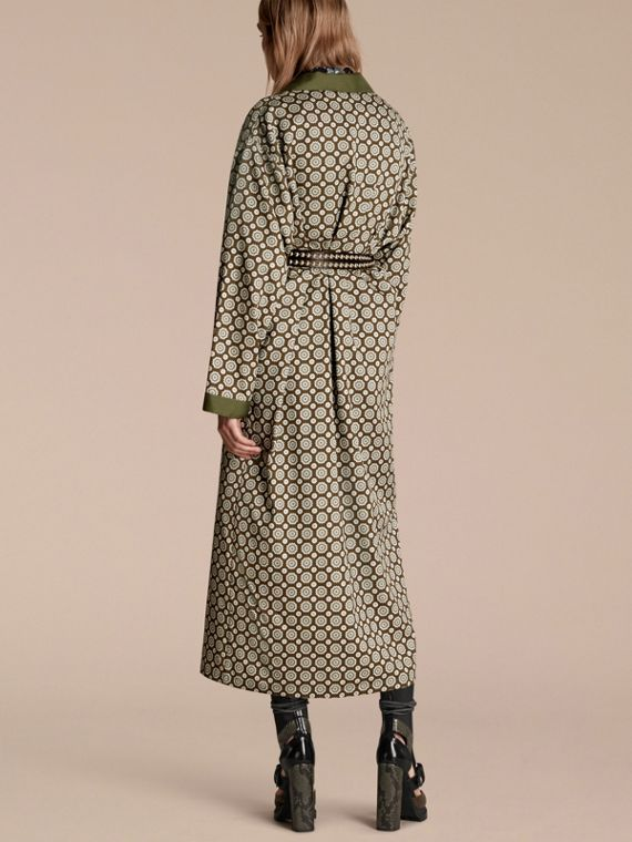 Yellow olive Geometric Print Silk Cotton Dressing Gown Coat - cell image 2
