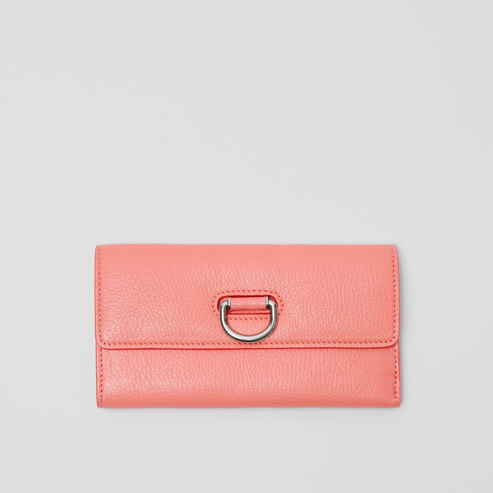 D-ring Grainy Leather Continental Wallet in Bright Coral Pink - Women | Burberry United Kingdom - gallery image 5