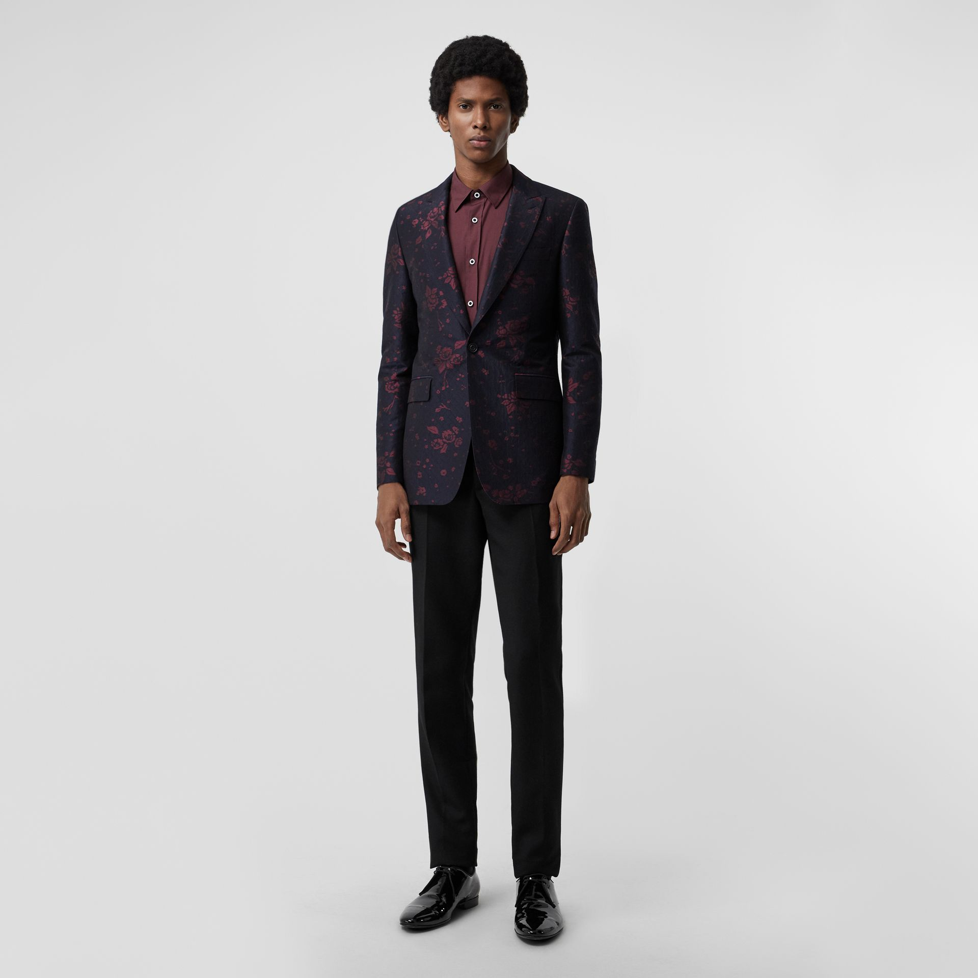 Slim Fit Silk Wool Matelassé Evening Jacket in Midnight Blue - Men | Burberry - gallery image 0