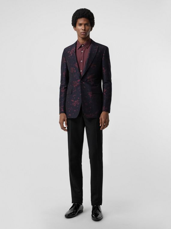 Slim Fit Silk Wool Matelassé Evening Jacket in Midnight Blue