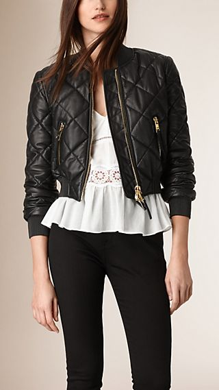 Cropped Quilted Lambskin Bomber Jacket
