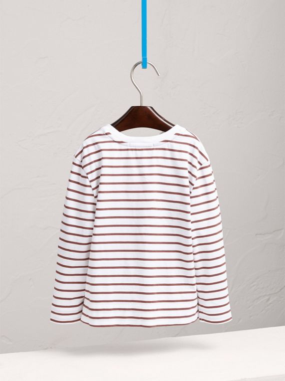 Embroidered Striped Cotton Top in Antique Rose/white - Girl | Burberry Singapore - cell image 3
