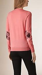 Check Detail Merino Crew Neck Sweater