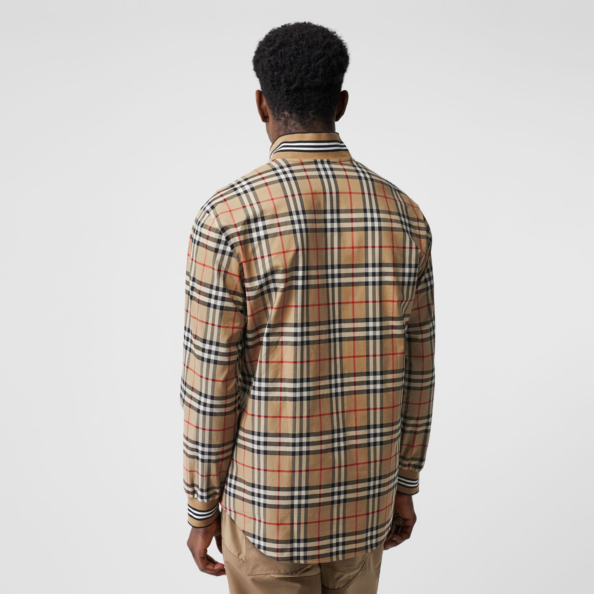 Rib Knit Detail Vintage Check Cotton Shirt in Archive Beige - Men | Burberry Australia - gallery image 2