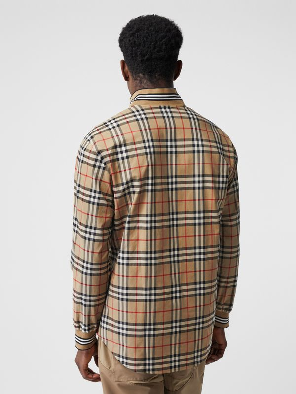 Rib Knit Detail Vintage Check Cotton Shirt in Archive Beige - Men | Burberry Australia - cell image 2