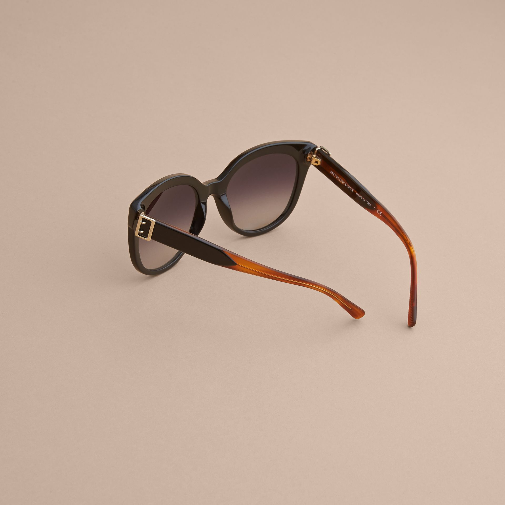 Buckle Detail Cat-eye Frame Sunglasses in Black - Women | Burberry United Kingdom - gallery image 3