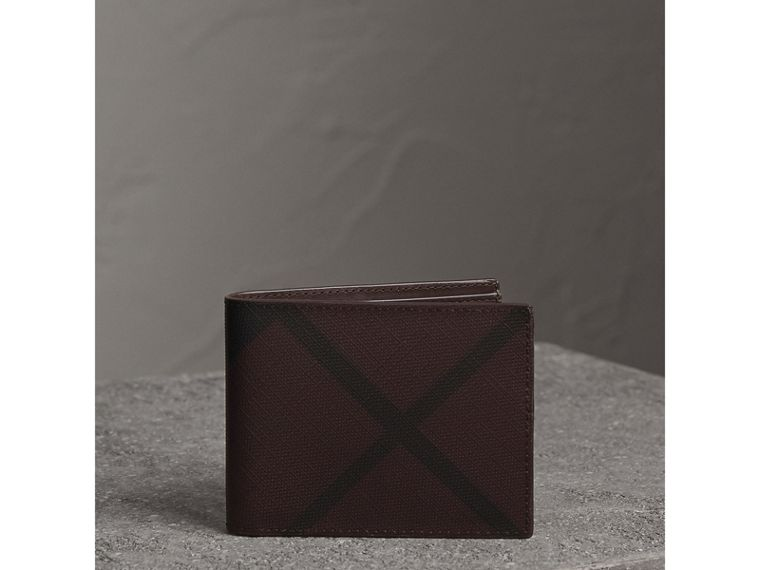 London Check Bifold Wallet in Deep Claret - Men | Burberry United Kingdom - cell image 4