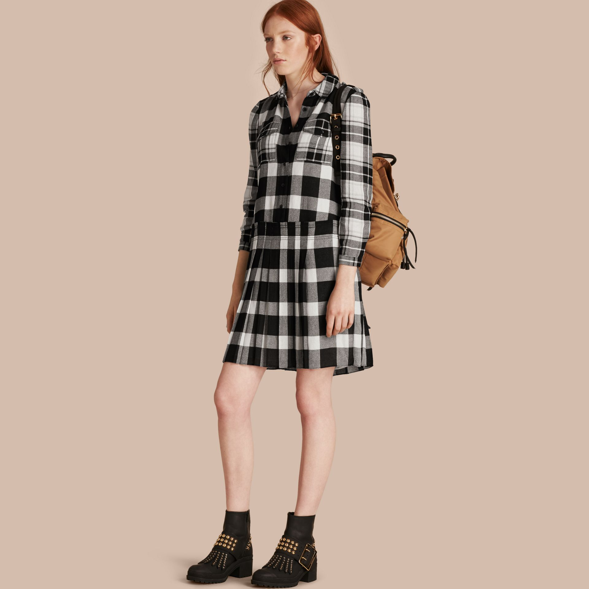 Natural white Check Kilt Dress - gallery image 1
