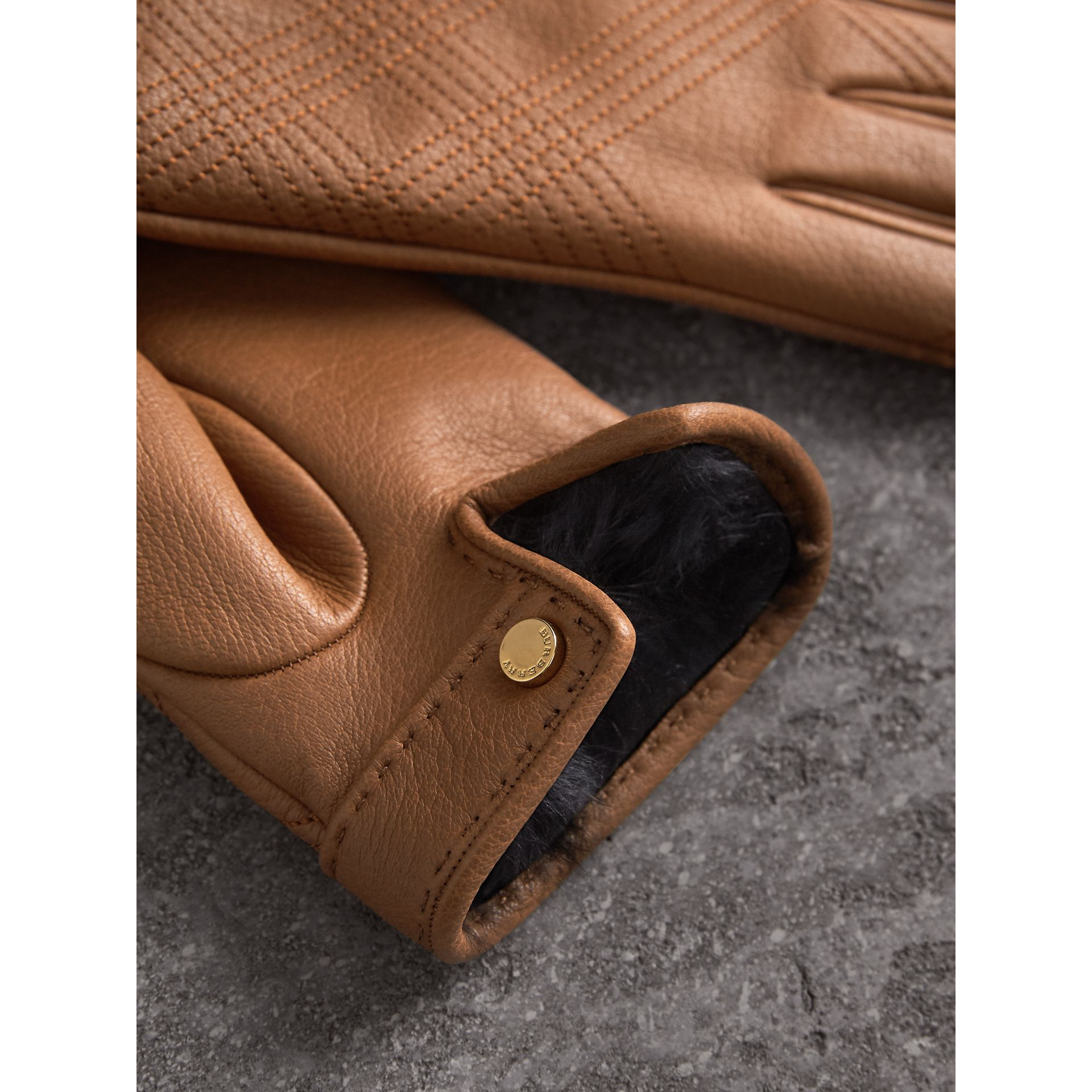 Check Embroidered Lambskin Gloves in Bright Toffee - Women | Burberry United States - gallery image 2