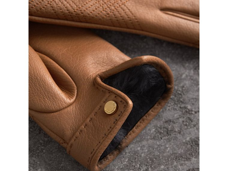 Check Embroidered Lambskin Gloves in Bright Toffee - Women | Burberry Singapore - cell image 2