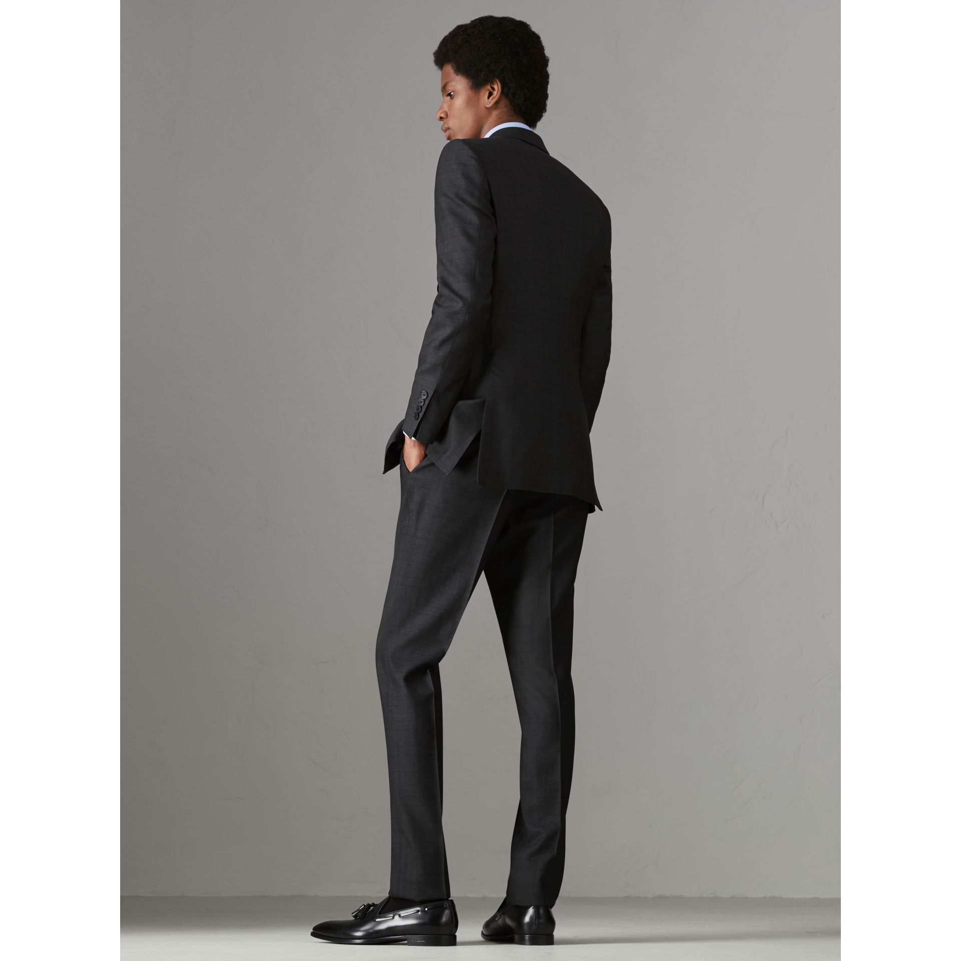 Slim Fit Prince of Wales Check Wool Silk Suit in Charcoal Melange - Men | Burberry - gallery image 2