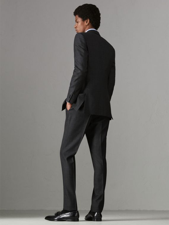Slim Fit Prince of Wales Wool Silk Suit in Charcoal Melange - Men | Burberry United Kingdom - cell image 2