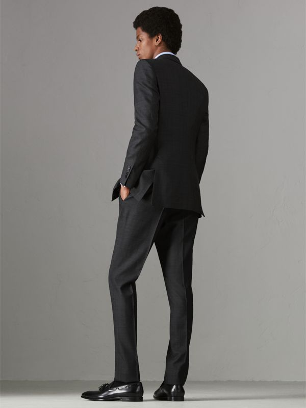 Slim Fit Prince of Wales Check Wool Silk Suit in Charcoal Melange - Men | Burberry - cell image 2