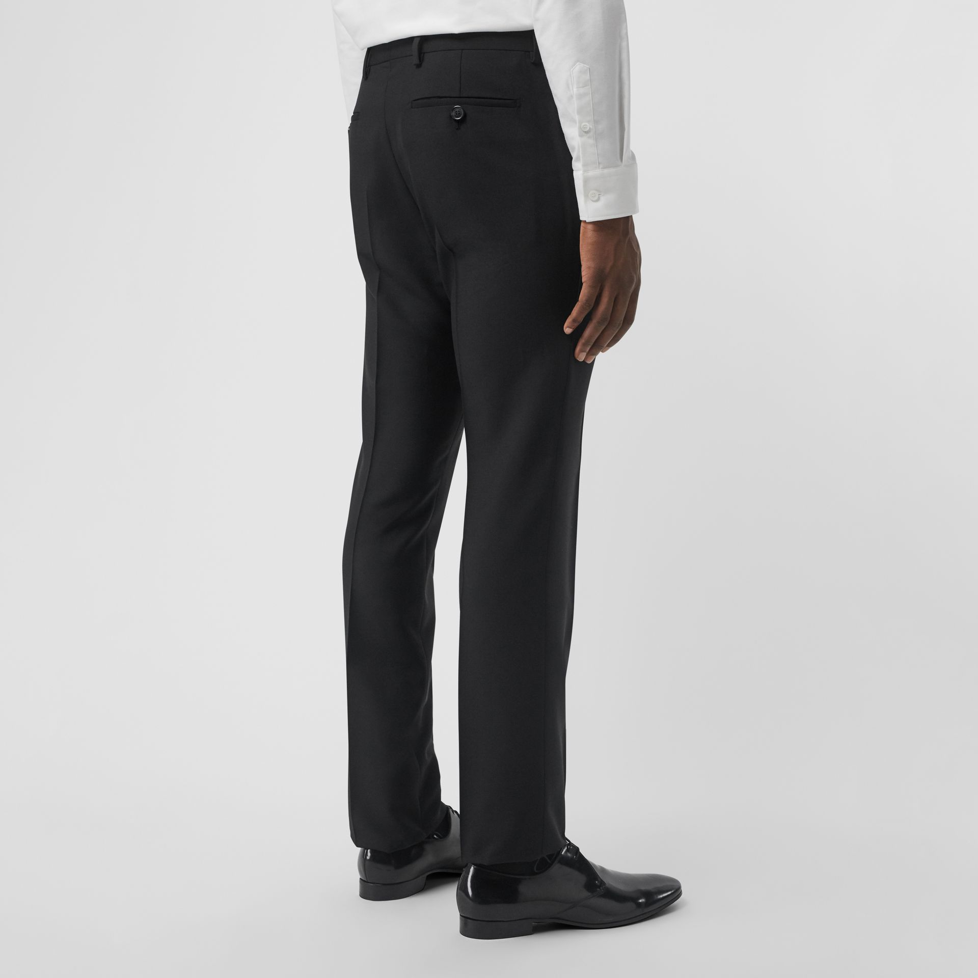 Wool Mohair Tailored Trousers in Black - Men | Burberry - gallery image 2