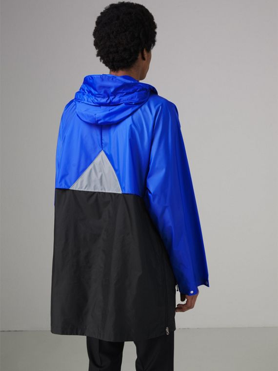 Colour Block Lightweight Half-zip Parka in Sapphire Blue - Men | Burberry - cell image 2
