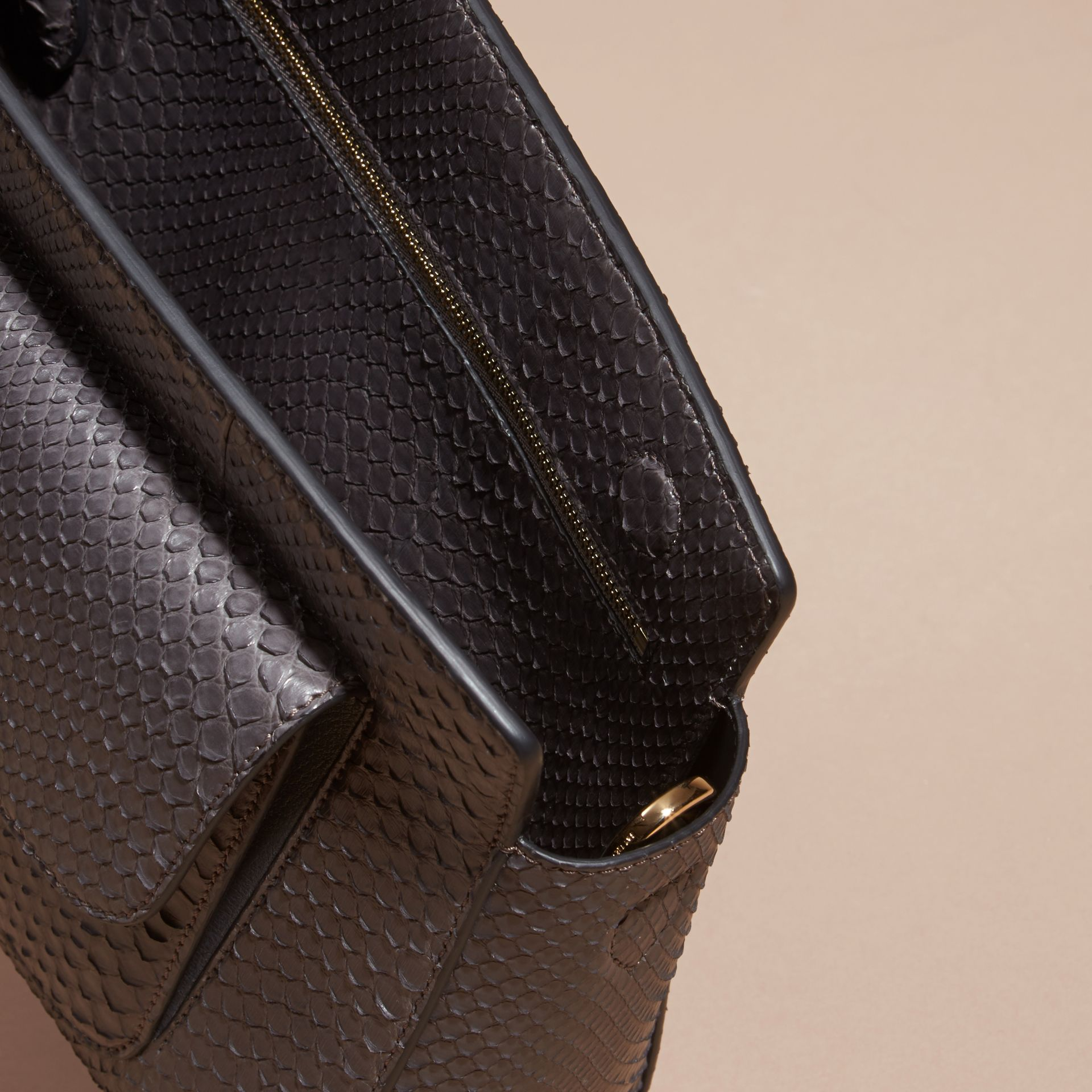 Sepia grey The Saddle Clutch in Python - gallery image 6