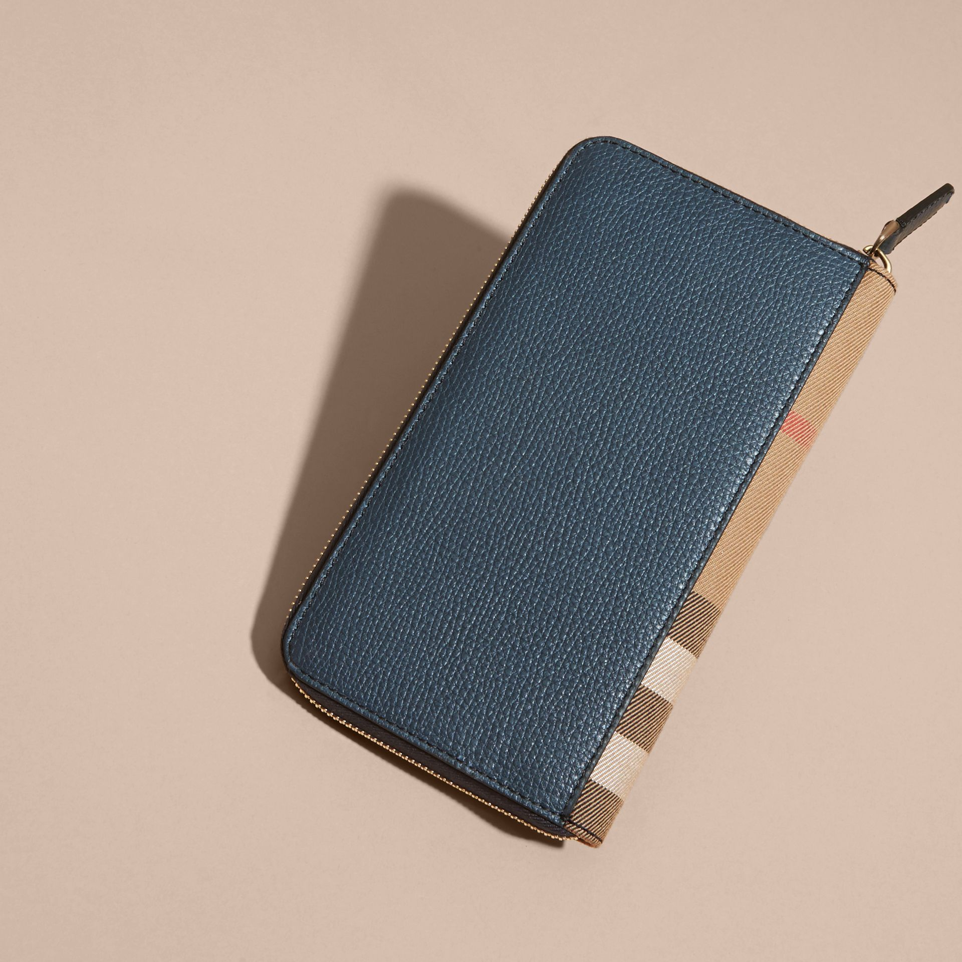 House Check and Grainy Leather Ziparound Wallet Storm Blue - gallery image 3