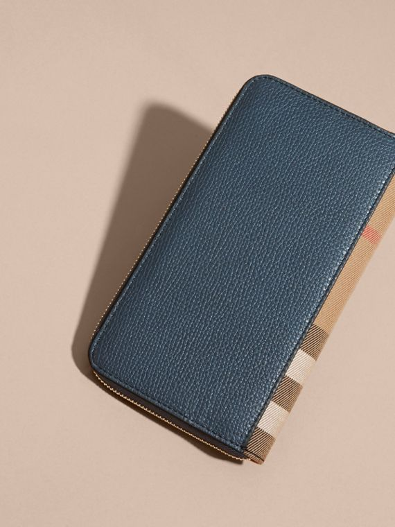 House Check and Grainy Leather Ziparound Wallet Storm Blue - cell image 2