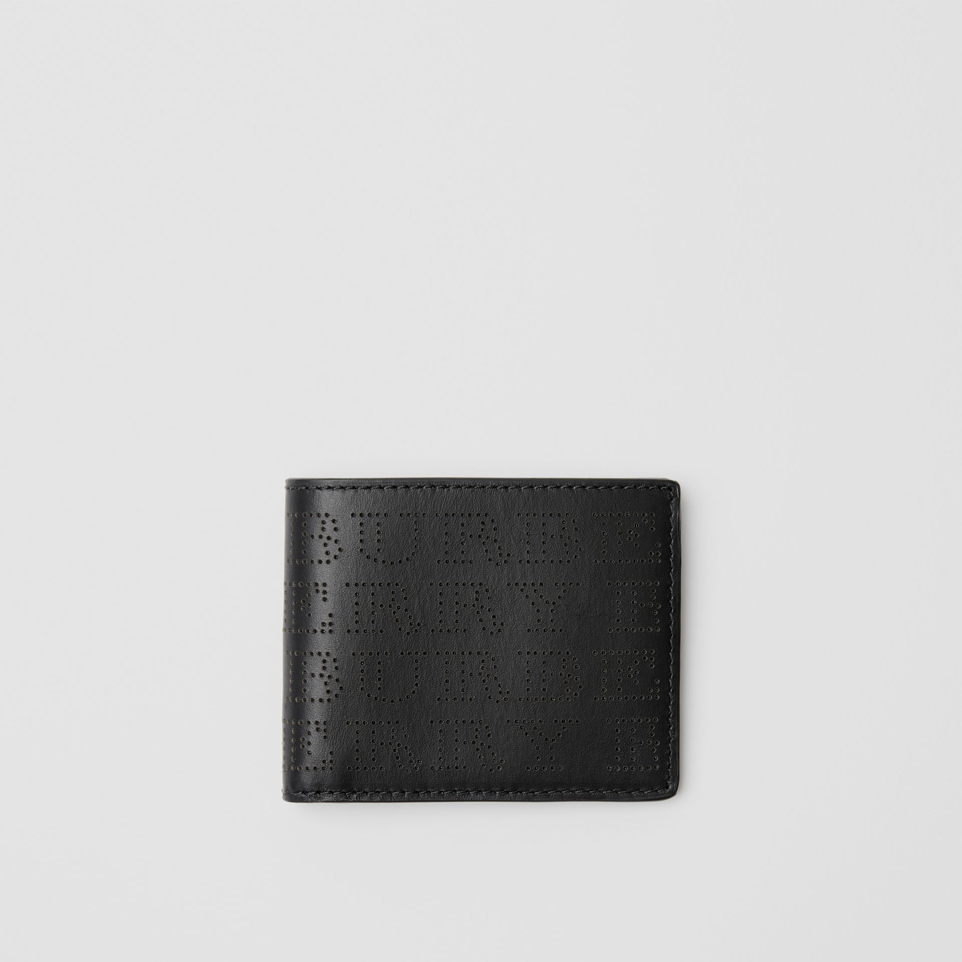 Perforated Logo Leather Bifold Wallet in Black - Men | Burberry - gallery image 0