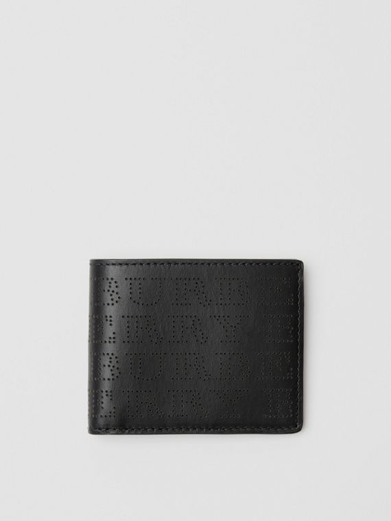 Perforated Logo Leather Bifold Wallet in Black