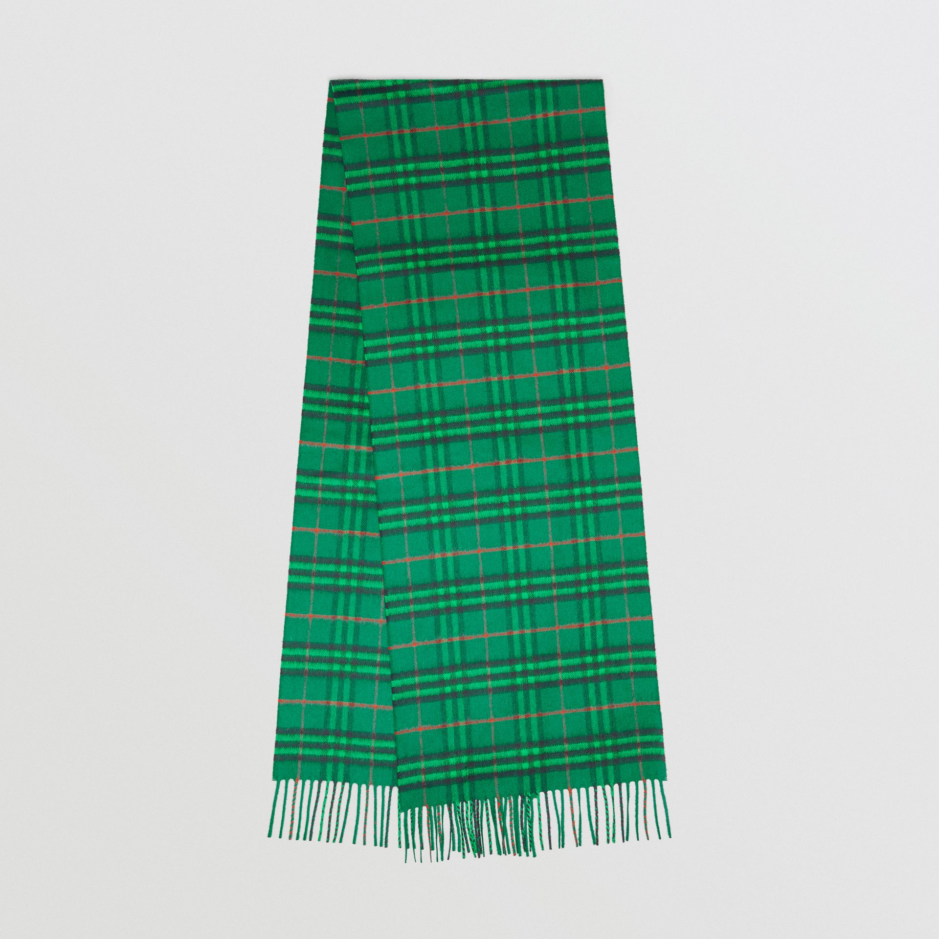 The Classic Vintage Check Cashmere Scarf in Viridian Green | Burberry Singapore - gallery image 0