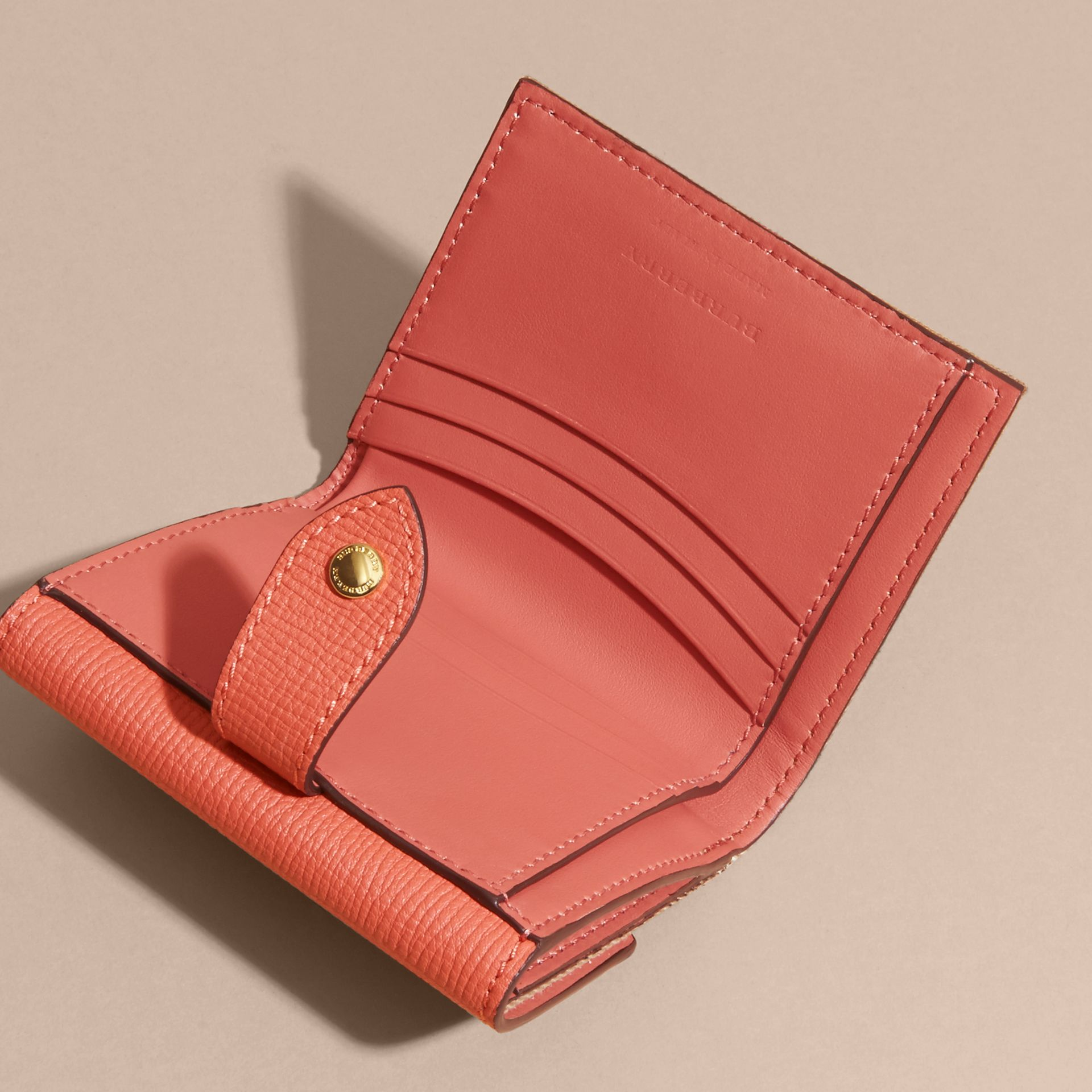 House Check and Leather Wallet in Cinnamon Red - Women | Burberry - gallery image 6