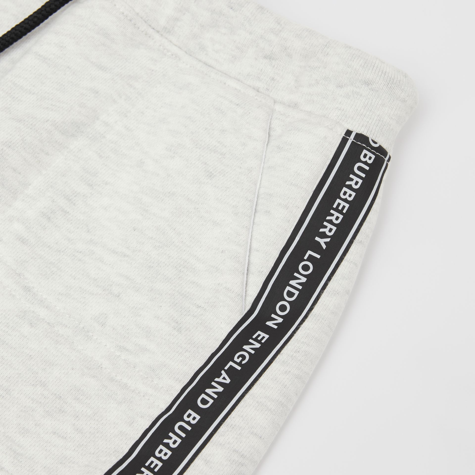 Logo Tape Cotton Drawcord Shorts in White Melange - Children | Burberry - gallery image 1