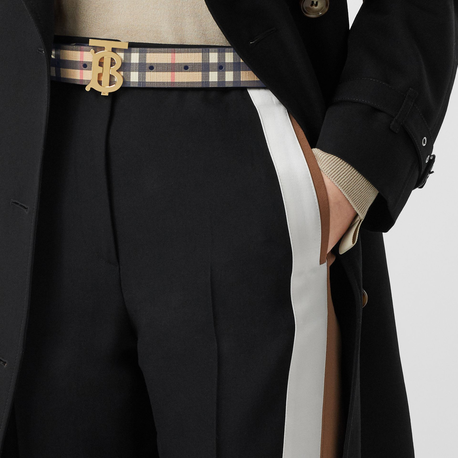 Monogram Motif Vintage Check E-canvas Belt in Archive Beige - Women | Burberry Canada - gallery image 2