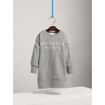 Embroidered Cotton Sweatshirt Dress in Grey Melange Girl