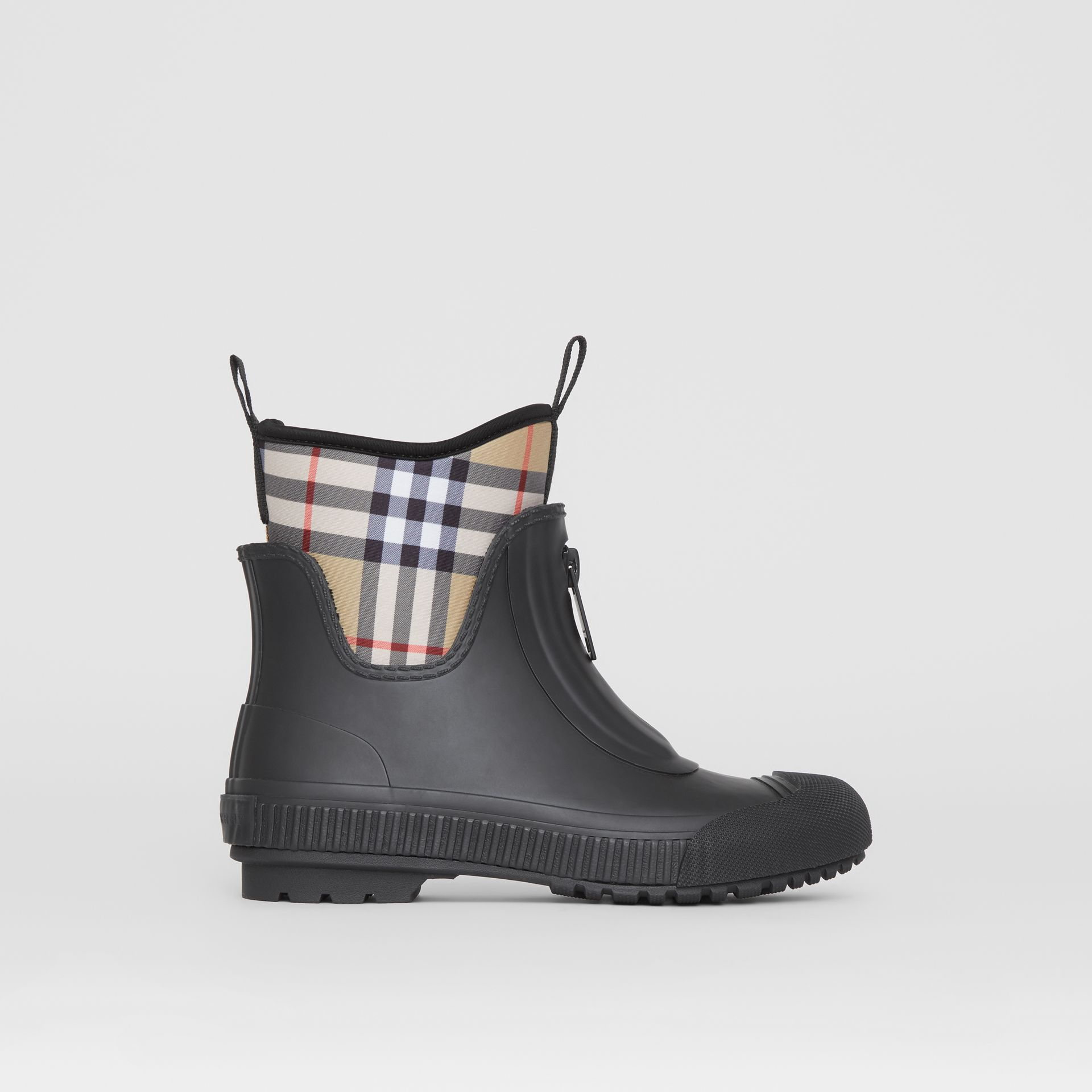 Vintage Check Neoprene and Rubber Rain Boots in Black - Women | Burberry - gallery image 6