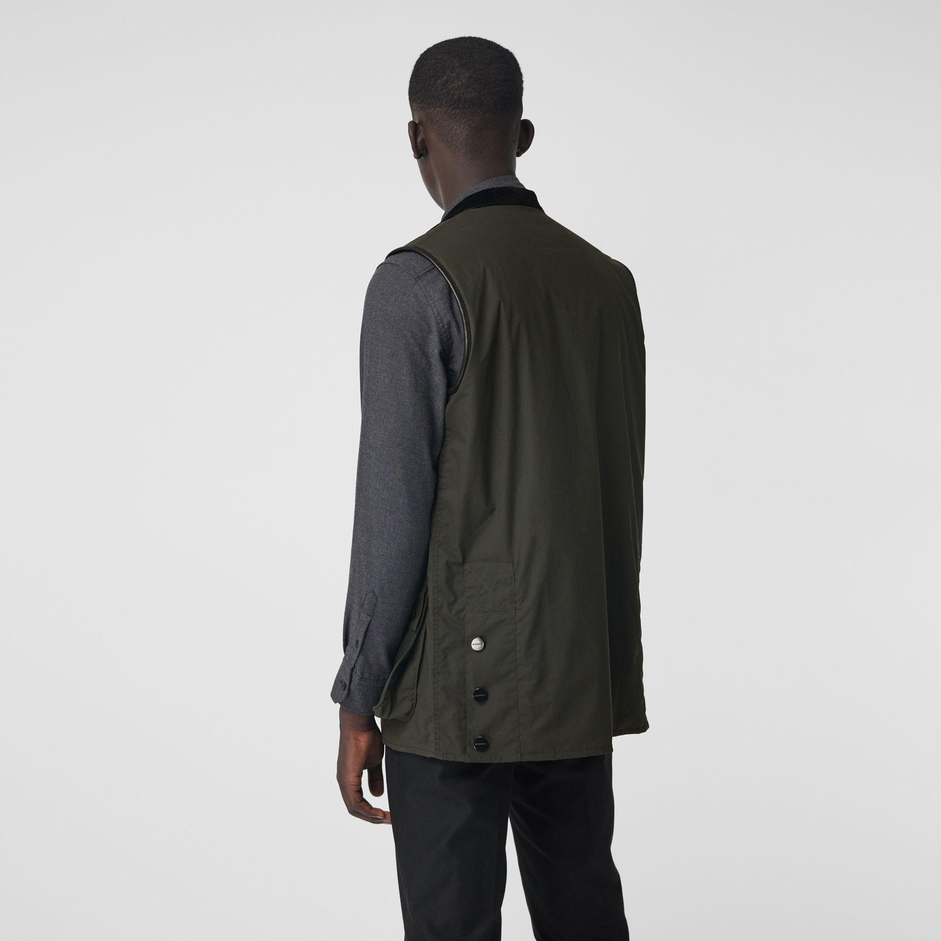 Detachable Hood Waxed Cotton Gilet in Olive - Men | Burberry - gallery image 2
