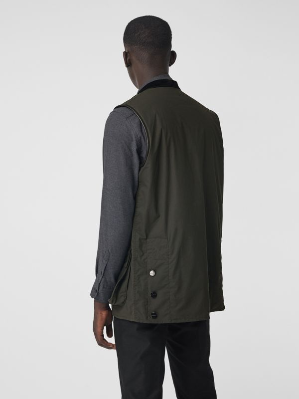 Detachable Hood Waxed Cotton Gilet in Olive - Men | Burberry Australia - cell image 2