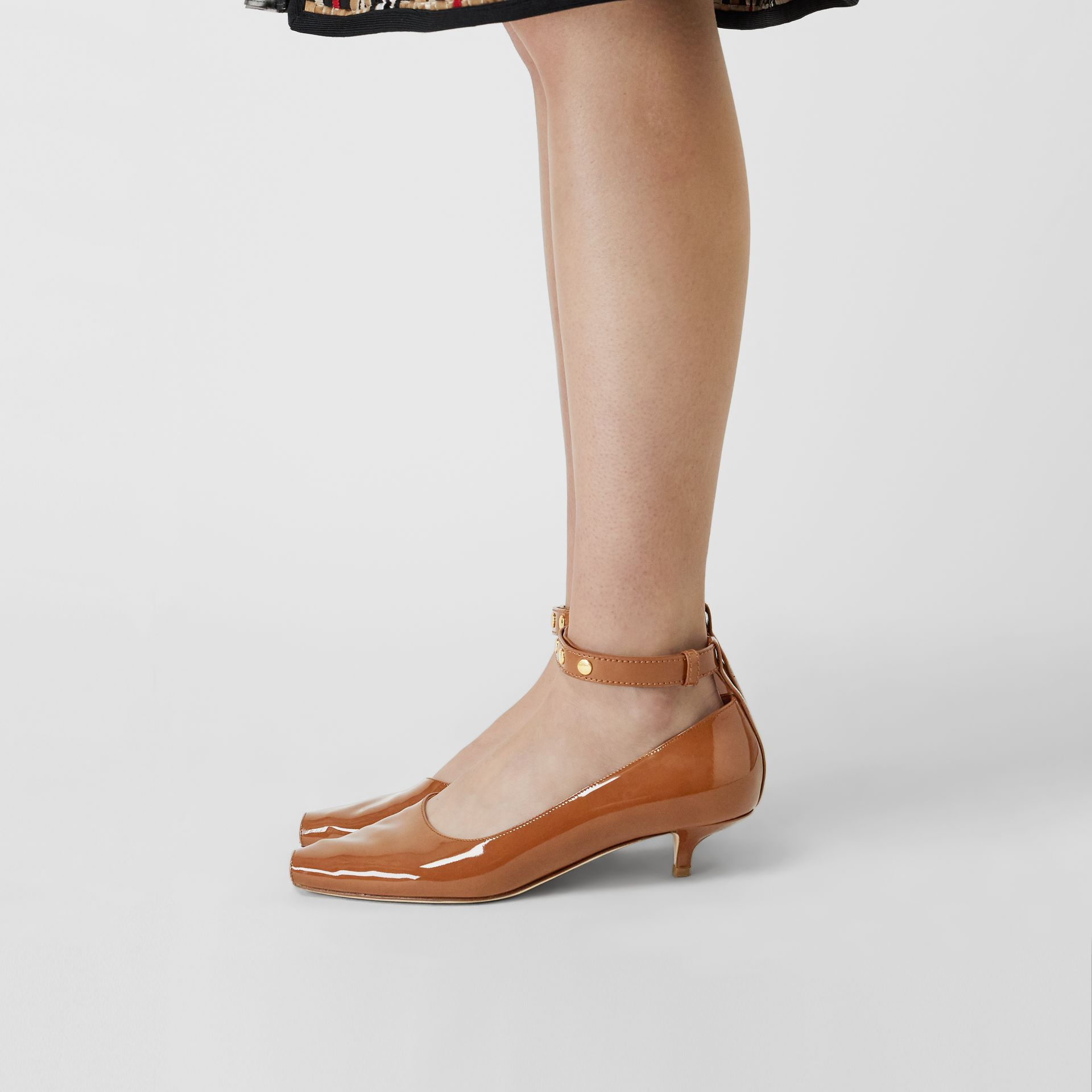 Patent Leather Peep-toe Kitten-heel Pumps in Tan - Women | Burberry Singapore - gallery image 2