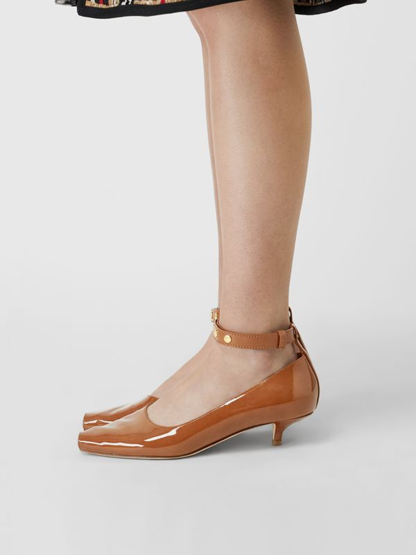 Patent Leather Peep-toe Kitten-heel Pumps in Tan - Women | Burberry Singapore - cell image 2
