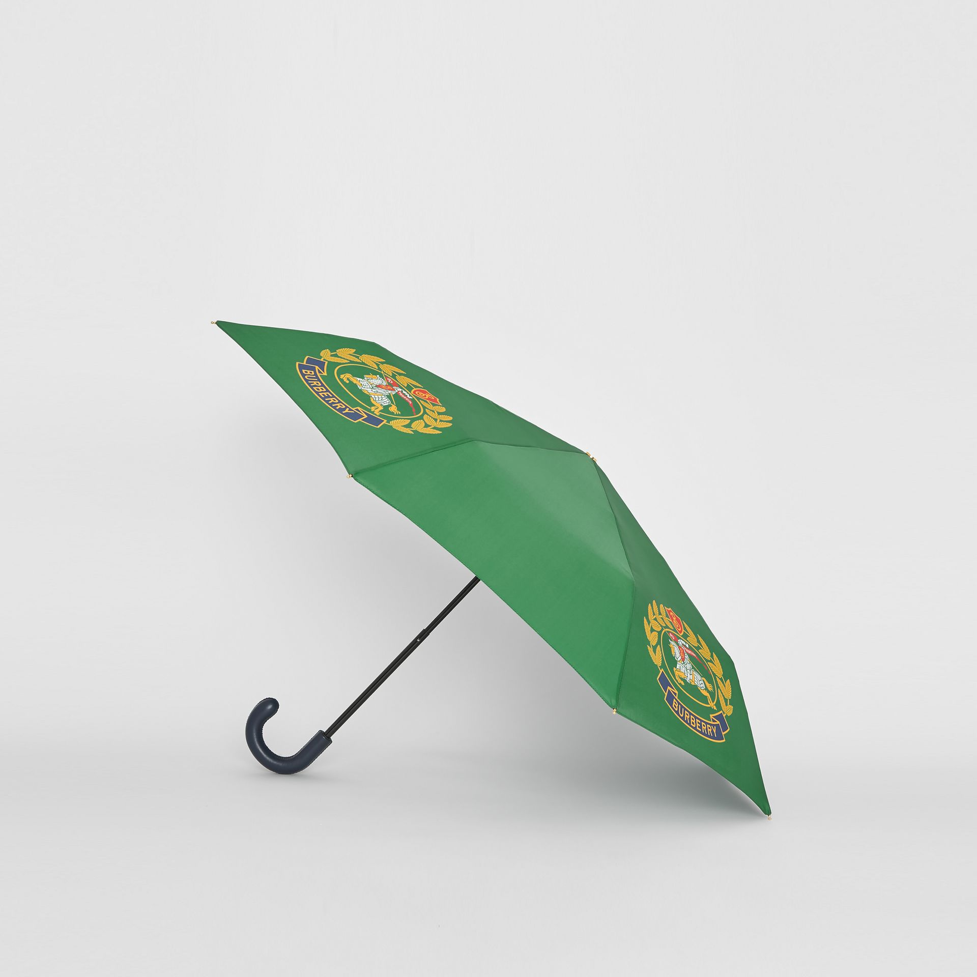 Crest Print Folding Umbrella in Dark Forest Green | Burberry Canada - gallery image 3