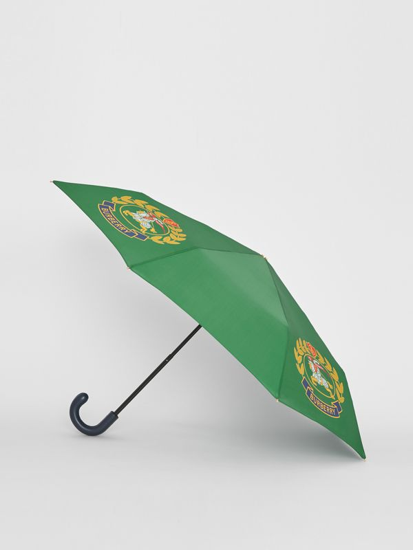 Crest Print Folding Umbrella in Dark Forest Green | Burberry - cell image 3