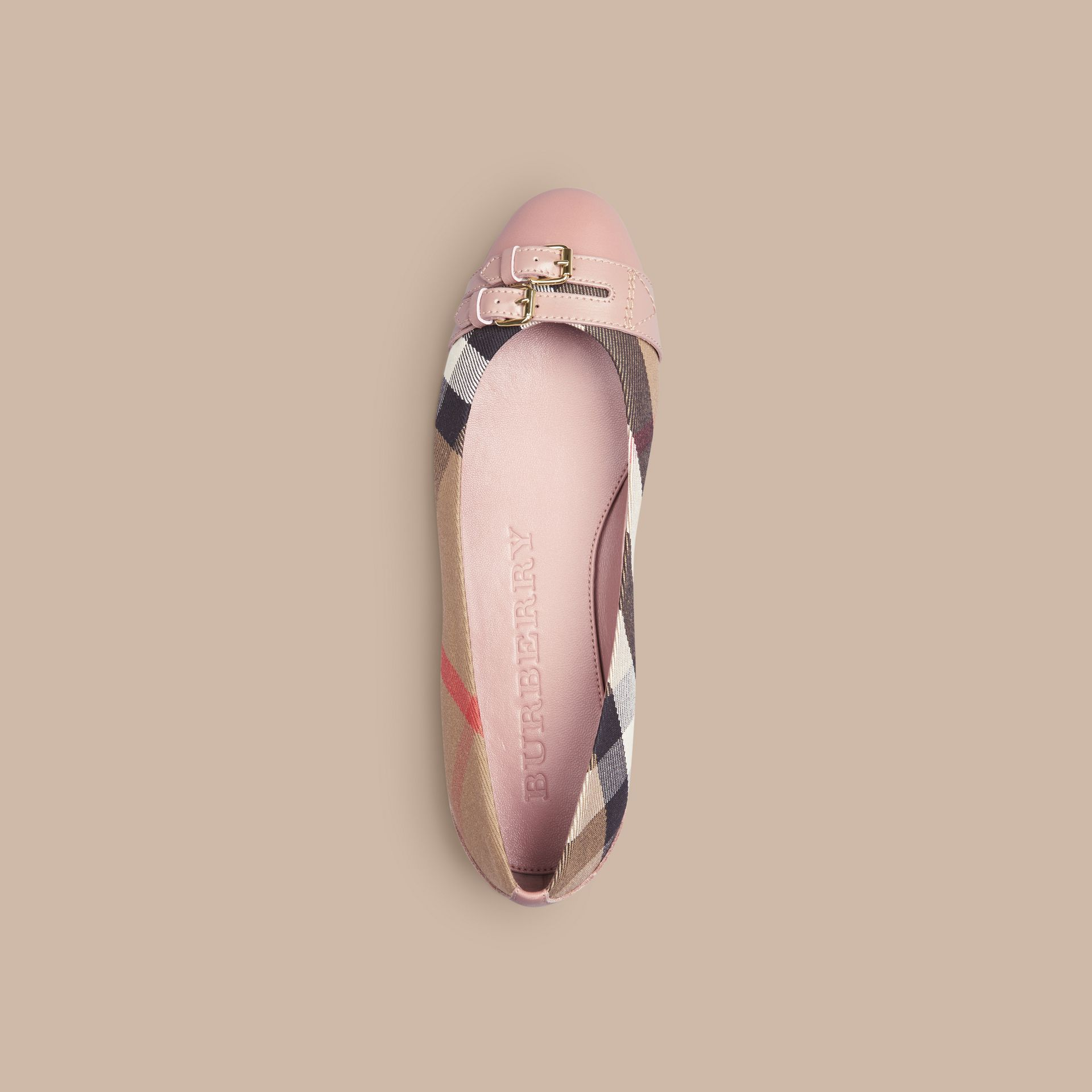 Belt Detail House Check Ballerinas in Nude Blush - Women | Burberry - gallery image 3