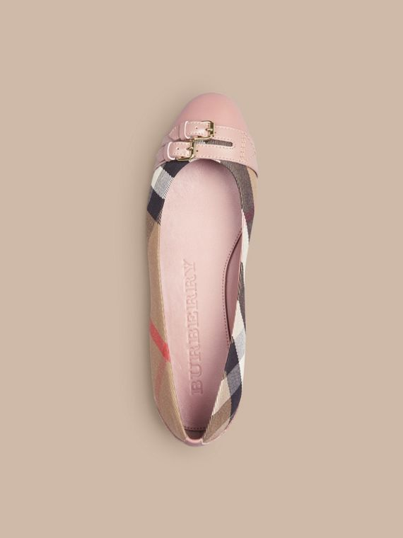 Belt Detail House Check Ballerinas in Nude Blush - Women | Burberry - cell image 2