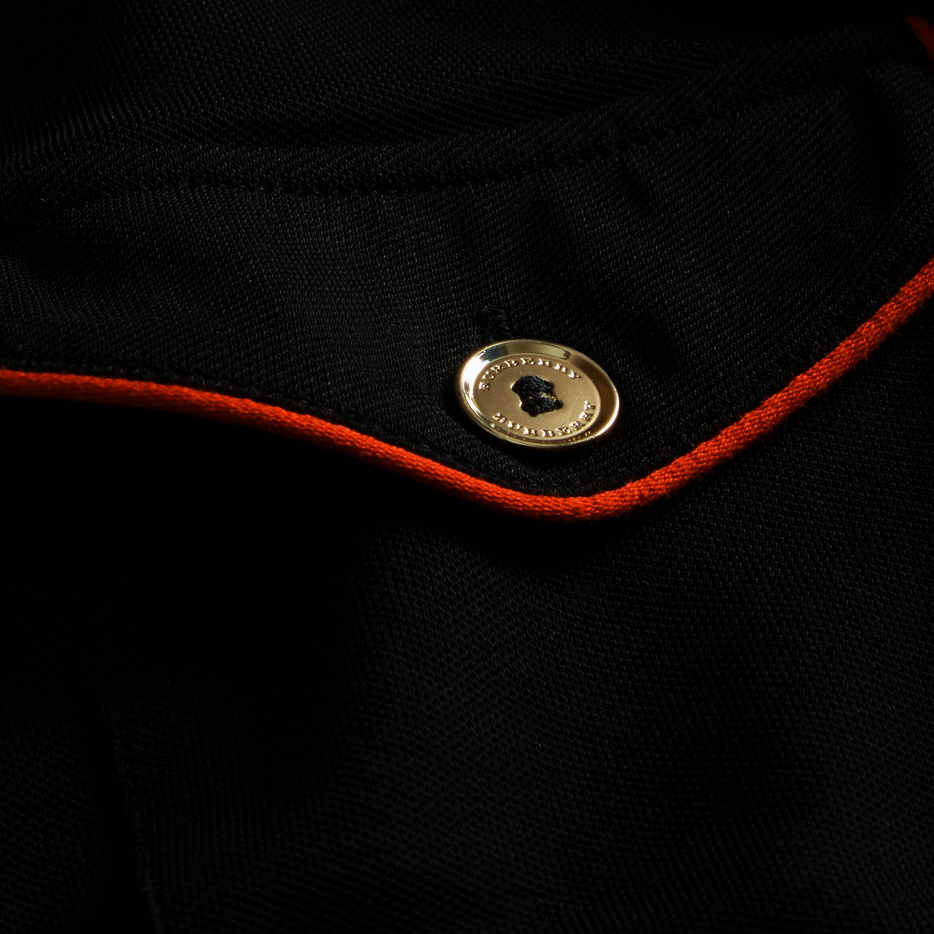Black Fitted Polo Shirt with Regimental Piping Black - gallery image 2