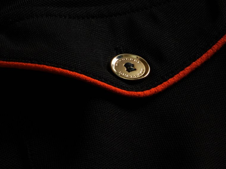 Black Fitted Polo Shirt with Regimental Piping Black - cell image 1
